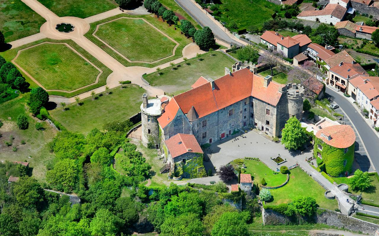 aerial view of the castle of Saint Saturnin, guest house in Auvergne