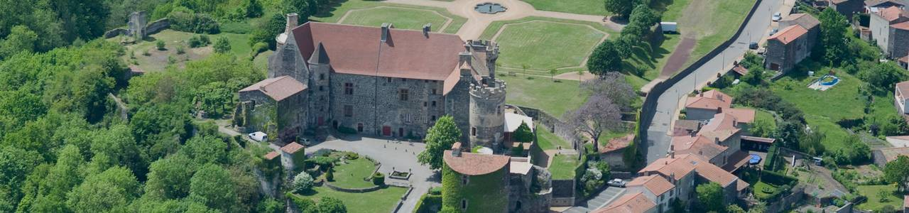 aerial view of the castle of st saturnin, guest house in Auvergne