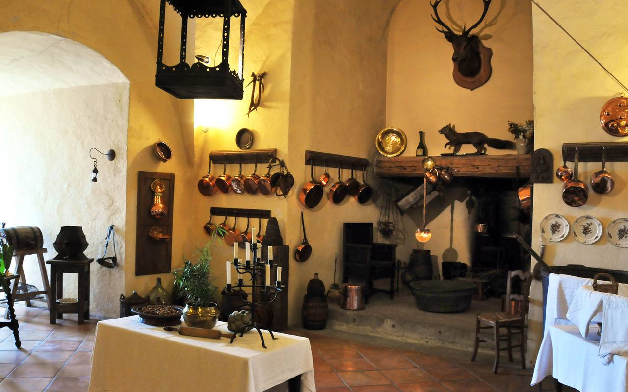 The old kitchen at the Château de Saint Saturnin, guest house in Auvergne