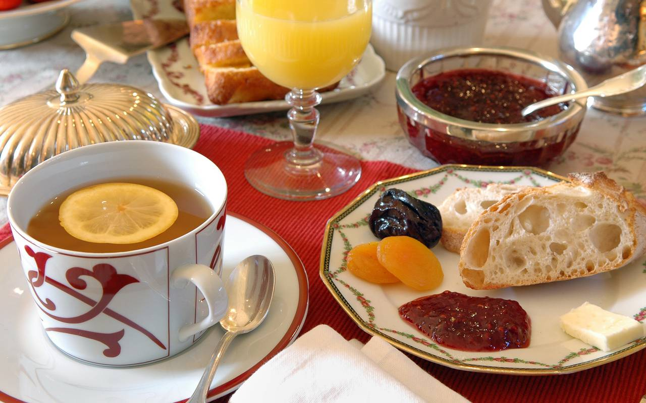 continental breakfast at charming guest house in Auvergne