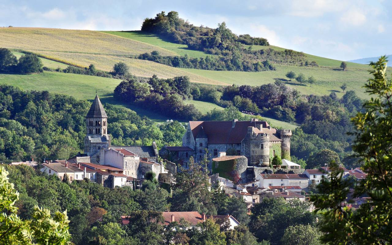 The village of Saint Saturnin overlooked by its medieval church and the Castle